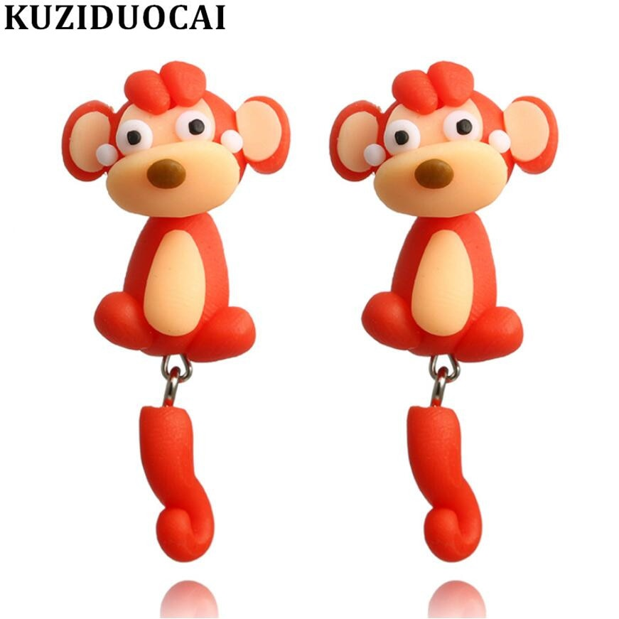 New Fashion Jewelry Cute Quaint Soft Pottery 3D Stitching Monkey Statement Stud Earrings For Women Girls Child Gifts