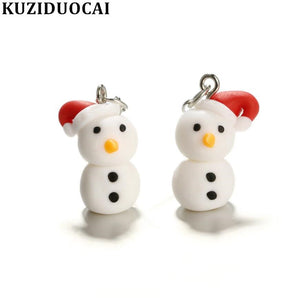 New Fashion Jewelry Soft Pottery 3D Ice Snow Lifelike Christmas Snowman Statement Drop Earrings For Women Child Girls