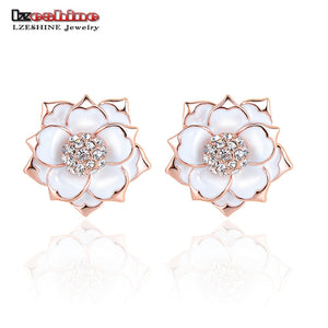 Brand Enamel Earrings Rose Gold Color SWA Elements Crystal Flower Stud Earrings Wedding ER0287-A