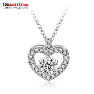 Classic Love Heart Pendant Crystal Chain Rhinestone Necklace Fine Jewelry Pendant For Lover CNL0044-B