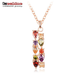 New Arrival Multicolor Cubic Zircon Necklace&Pendant Rose Gold Color Necklace Party Jewelry CNL0219-A