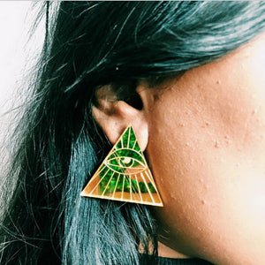 Laser Mark Acrylic made Gold Triangle Horus Eyes Stud Earring Night Club Bling Bling Woman's Accessories