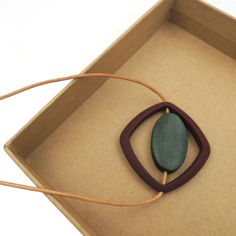 Light weight oval bead in a circle geometric necklace minimalist modern everyd simple leather cord brand NW311