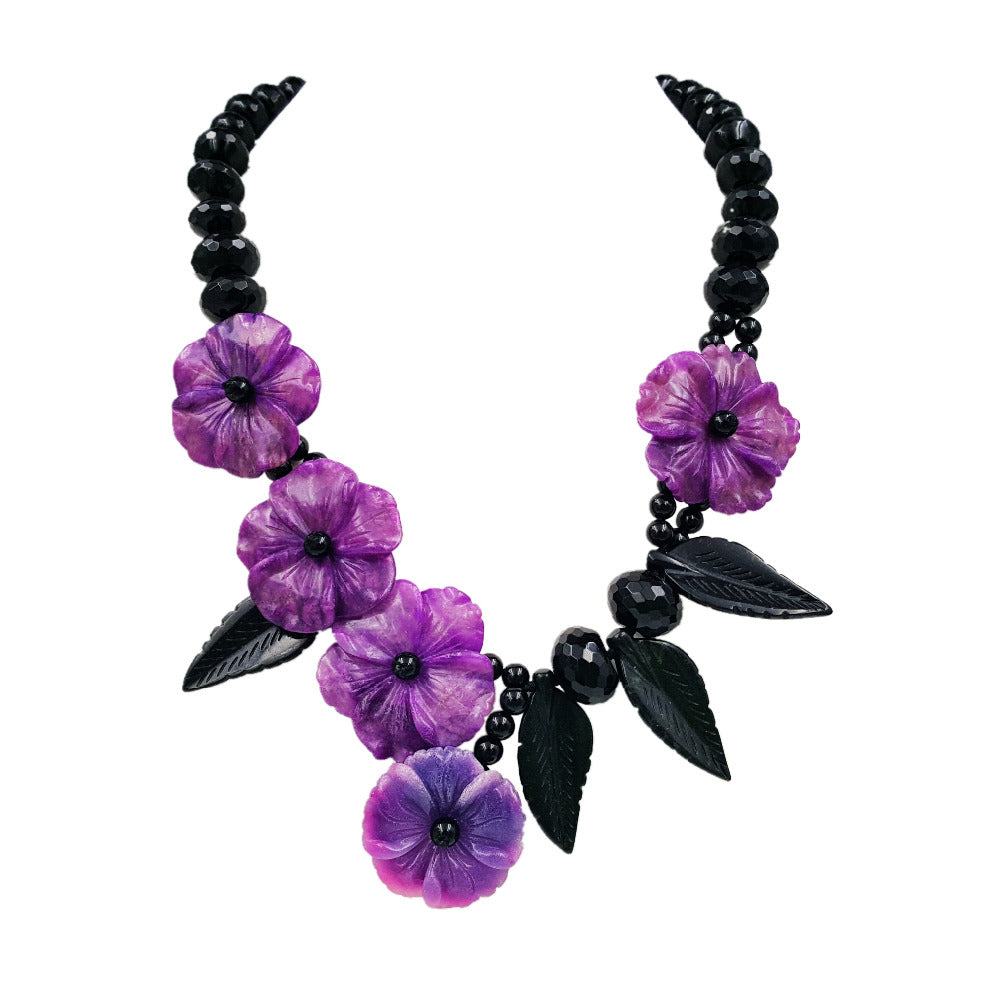 Natural Stone Black Agate,New Jade Leaf ,Dye Sugilite color Jade Flowers Handmade Necklace