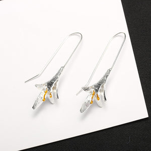 Long Flower Earrings Big Lily Charm Dangle Drop Hook Earring For Women Girls Silver Color Orchid Ear Jewelry Pendientes Eardrop