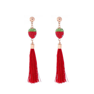 Long tassel earrings Europe and the United States ultra joker creative jewelry Ms strawberry pendant crystal earrings