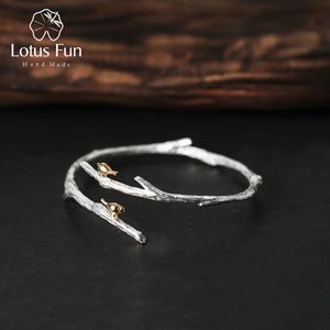 Real 925 Sterling Silver Natural Original Handmade Fine Jewelry Bird on Branch Adjustable Bangle for Women Bijoux