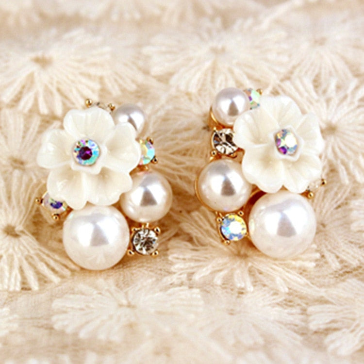 Lovely Colorful Rhinestone Gold Rose Pearl Crystal Stud Earrings for Women Vintage Jewelry Accessory For Girls