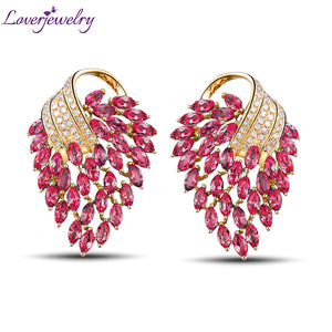 Vintage 18K Yellow Gold Natural Diamond Pink Red Ruby Earrings Fine Jewelry For Women Jewelry Gift E153A