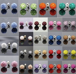 Lowest Price!10mm Cl Mixed 20 Color Crystal Micro Pave Disco Ball Silver Plated crystal Earrings Stud jewelry for women