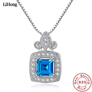 Luxury Jewelry 100% 925 Sterling Silver Necklace London Sapphire Pendant Necklace for Women Glamour Jewelry Wedding Gifts 45CM