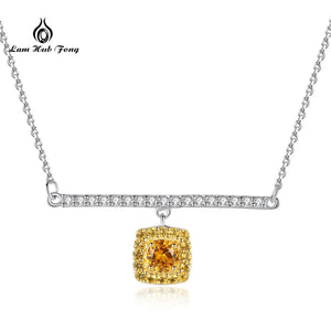Luxury Natural Citrine 925 Sterling Silver Pendant Necklace AAA CZ Women Fine Jewelry With Chain Gift for Girls Wholesale