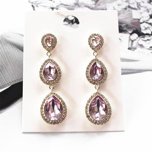 Luxury purple water droplets level long temperament act the role ofing is tasted women stud earrings