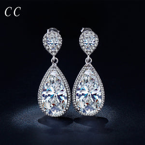 Luxury shiny AAA cubic zircon exaggerated drop water shaped stud earrings for women party wedding fashion jewelry gifts CCE040