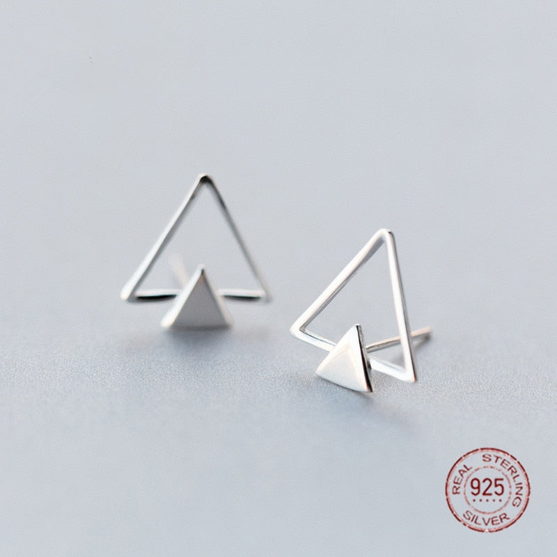 Unique S925 Silver Double Triangle Stud Earrings Minimalist Stylish 925-sterling-silver Big Earrings for Men Women NEW
