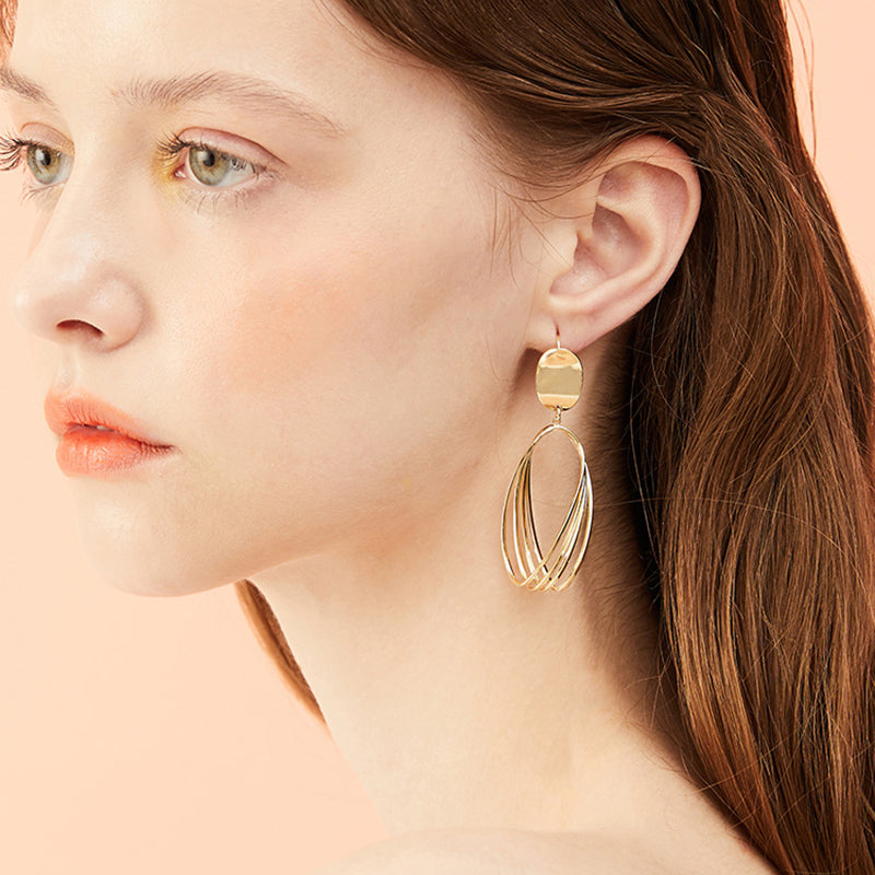 MTCHONG Europe And United States Simple Geometric Metal Multi Circle Dangles Hollow Earrings Women Jewelry Long Earring 778