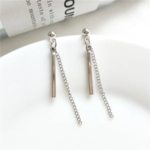 MTCHONG Europe and America Style Simple Metal Chain Strip Stick Long Earrings For Women Fashion Temperament Dangle Earring 500