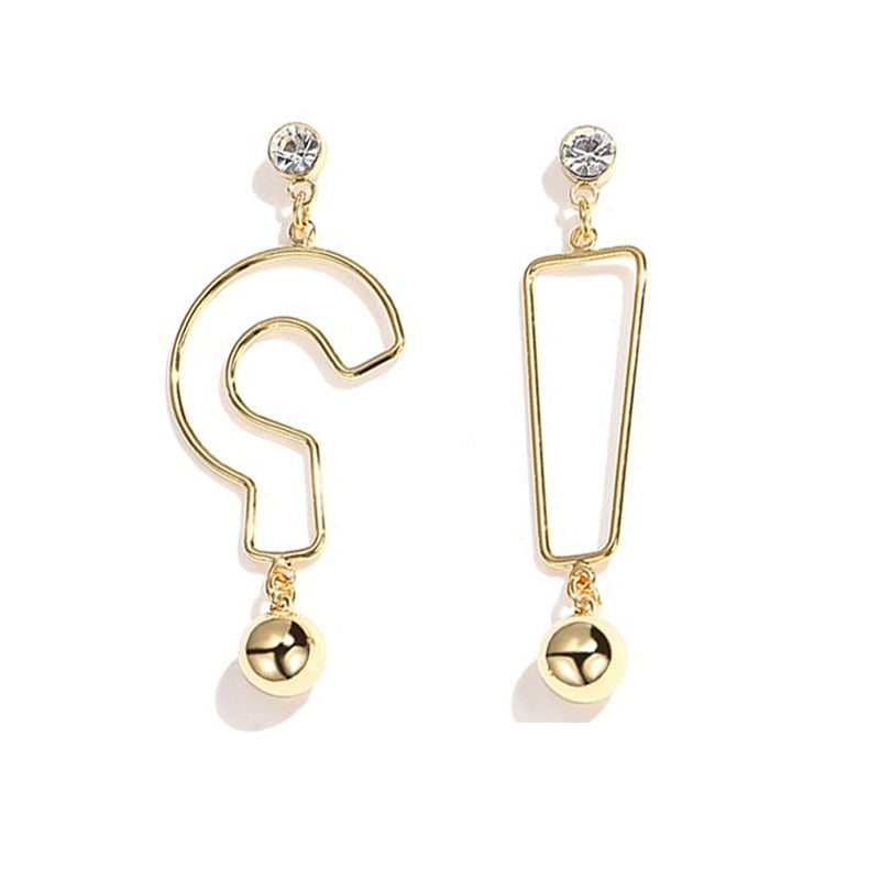 MTCHONG Geometric Gold Earrings Question Mark and Exclamation Point Asymmetric Earrings Creative Earrings For Women Jewery 609
