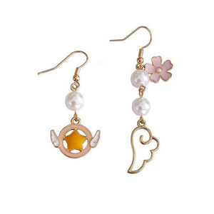 MTCHONG Japanese and Korean Style Earrings 2018 Fashion Lady Angel Wings Glazed Sakura Asymmetrical Earrings Gift 222