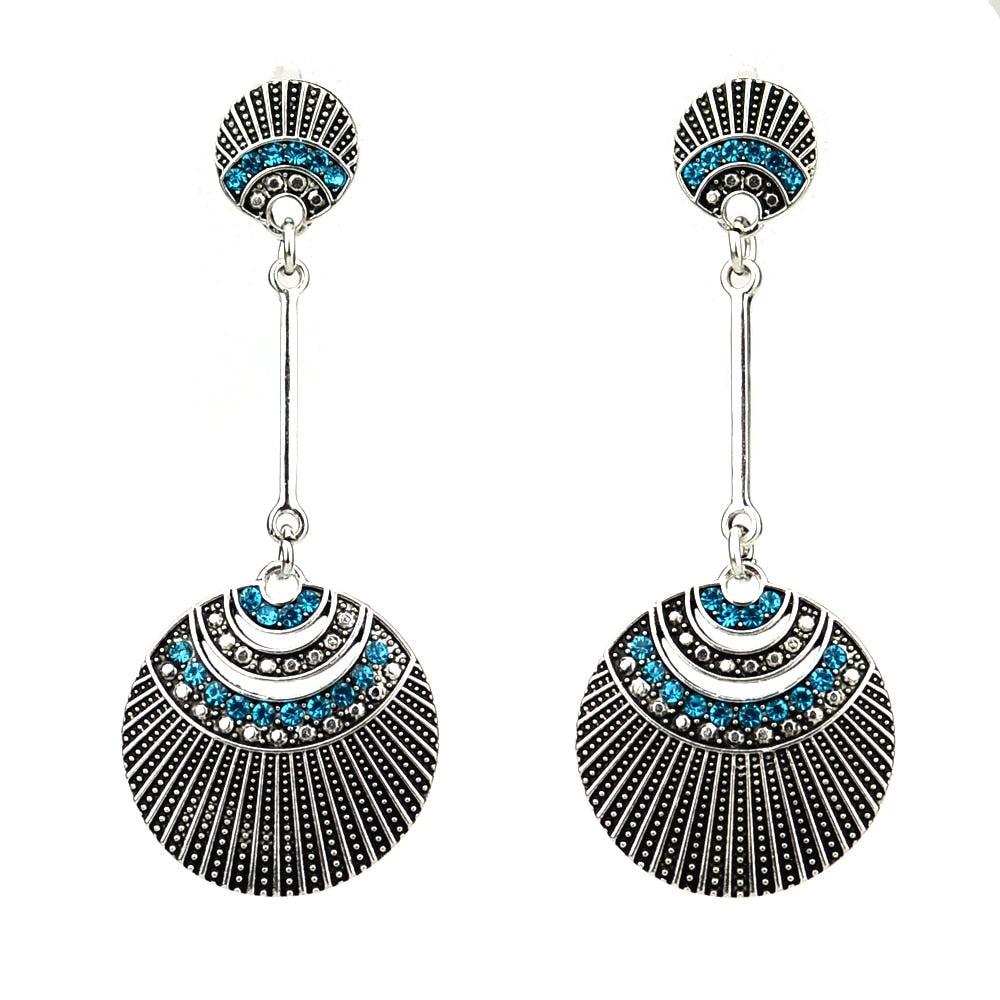 7.2cm Bohemian Antique Silver Color Blue Cystal Round Vintage Earrings For Women New Jewelry Bijouterie
