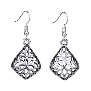 Antique Silver Color Hollow Geometric 3D Fashion Vintage Earrings For Women Girls New Jewelry