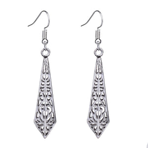 EQ134 Ethnic Tibetan Silver Color 5.5cm*1cm Hollow Sword Vintage Earrings For Women Girls New Jewelry Bijouterie