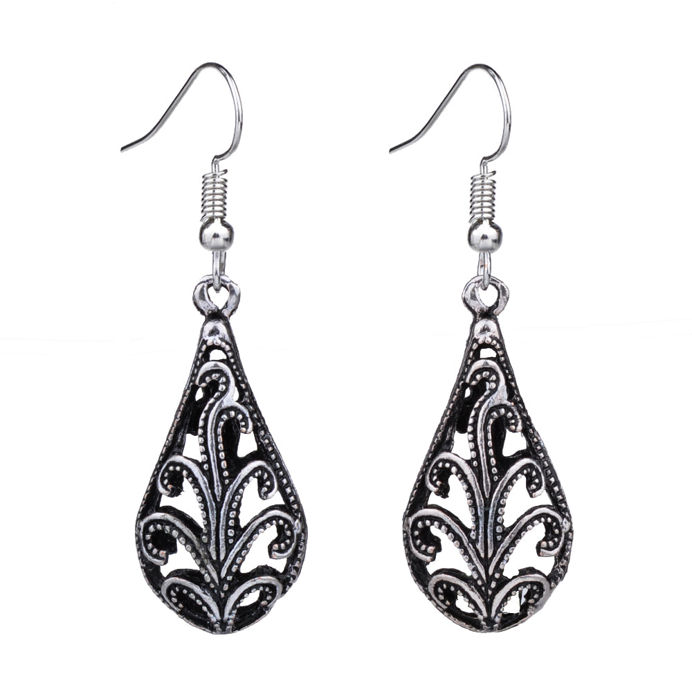 EQ146 Tibetan Silver Color 3D Hollow Tree Water Drop Charm Fashion Vintage Earrings For Women Girls New Jewelry