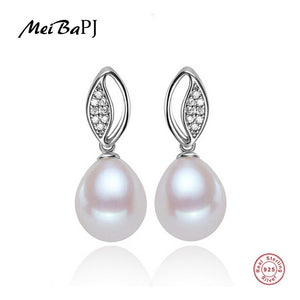 [MeiBaPJ]No Defect 4A Natural Pearl Stud Earrings For Women Elegant Real S925 Sterling Silver Earrings Pearl Jewelry 8-9mm