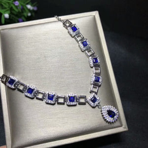 [MeiBaPJ]Real Natural Sapphire Gemstone Luxurious Necklace with Certificate 925 Pure Silver Fine Jewelry for Women