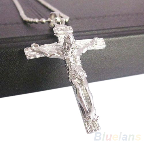 Men's Stainless Steel Silver Jesus Cross Chain Pendant Necklace 7JEX