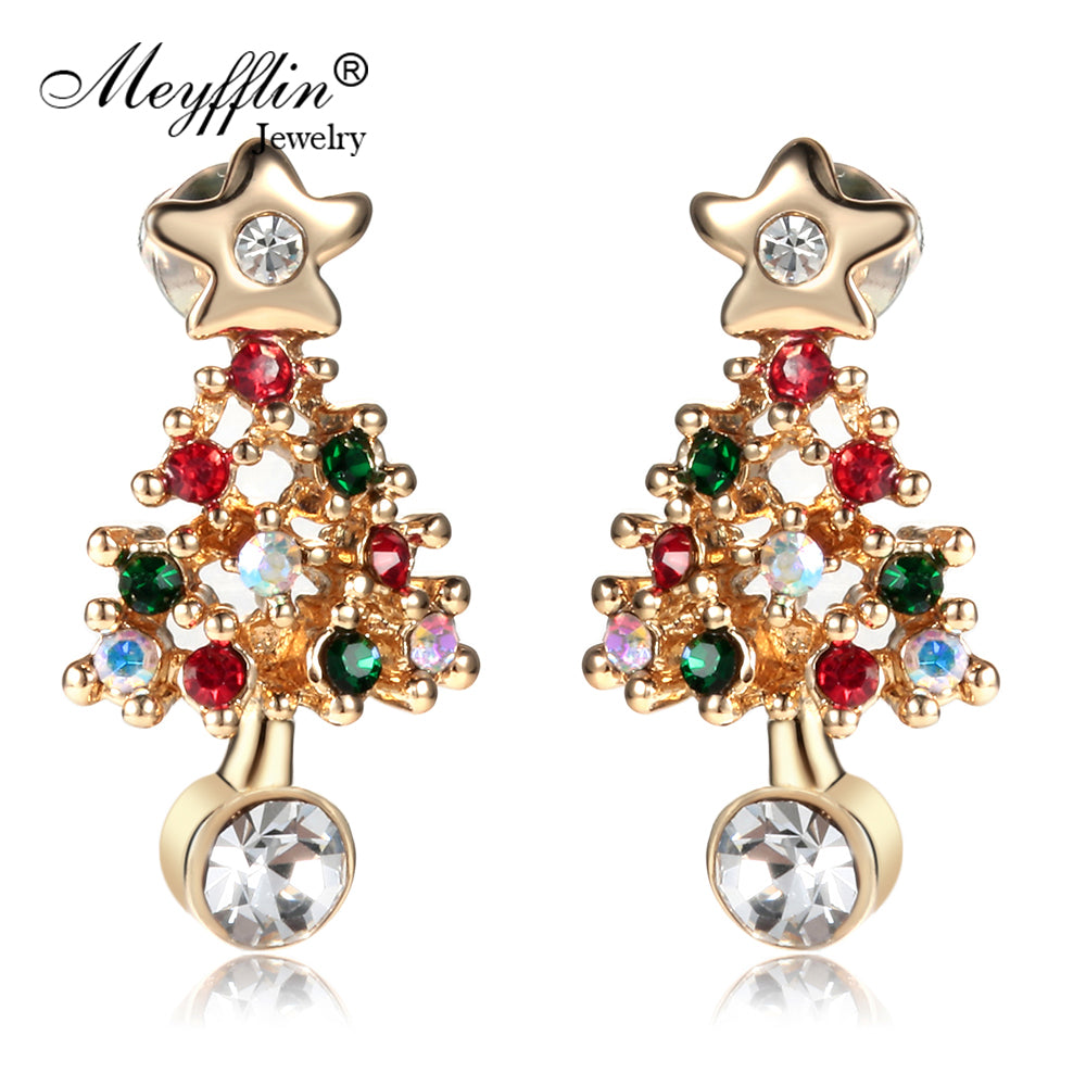 Fashion Christmas Tree Earrings for Women 2017 Vintage Colorful Crystal Stud Earring Gold Color Jewelry Female brincos