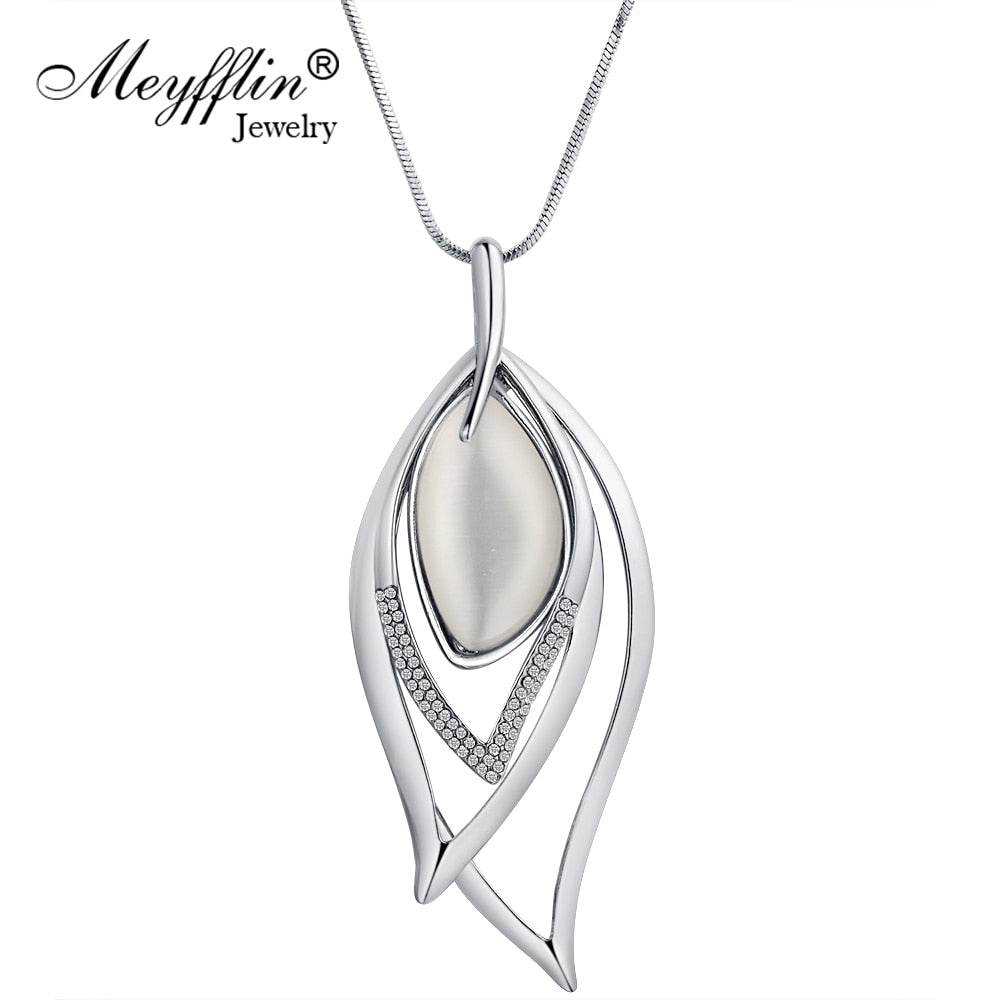 Long Necklaces & Pendants Vintage Silver Chain Crystal Opal Leaf Maxi Necklace Fashion Jewelry For Women Collier