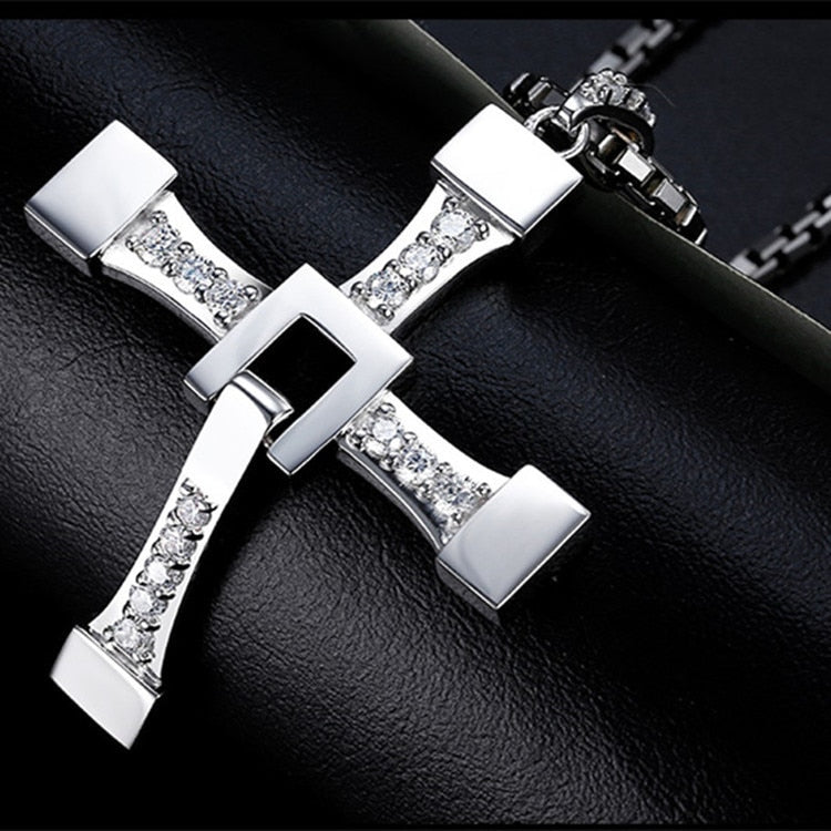 Fast and Furious 8 Cross Necklace Stainless Steel Necklace for Men Dominic Toretto Cross Pendant Necklace
