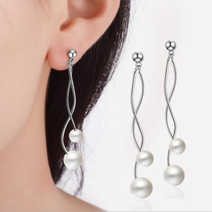 Minimalist Fashion Creative Exquisite 925 Sterling Silver Jewelry Simple Long Section Wild Wave Pearl Dangle Earrings SE304