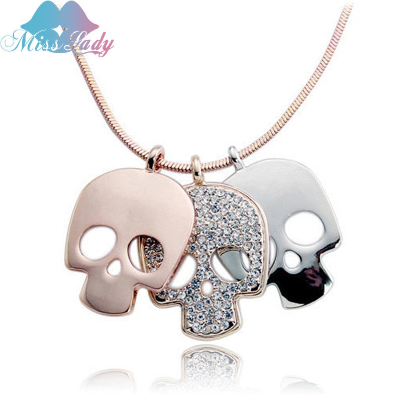Rose Gold color Crystal Long Skull Skeleton Necklaces & Pendants Wholesales Fashion Jewelry for women 126Y4493