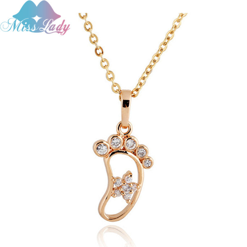 Rose Gold color Zircon Cute Little Baby Foot feet footprint Necklaces & Pendants statement Jewelry for women
