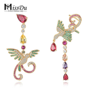 MissDu Phoenix earrings 3A zircon drill temperament maid asymmetrical zircon Stud Earrings