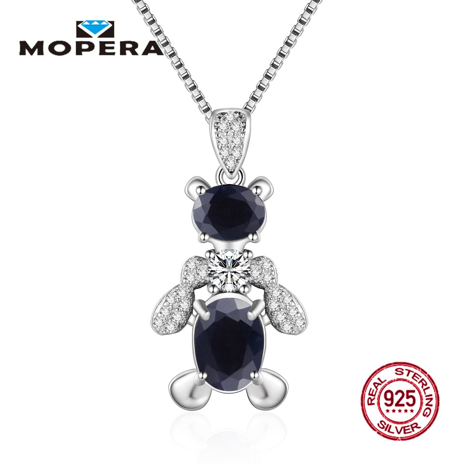 925 Sterling Silver Animal Bear Necklaces & Pendants with Natural Sapphire Pendant Necklaces For Women Fine Jewelry Gift