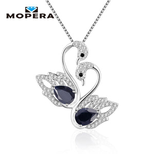 925 Sterling Silver Fine Jewelry Elegant Animal Charm Pendant With Chain Natural Sapphire Women Swan Pendant Necklaces