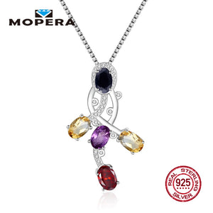Five Gemstone Natural Black Sapphire Amethyst Citrine Garnet Pendant With Chain 925 Sterling Silver Pendant Necklace