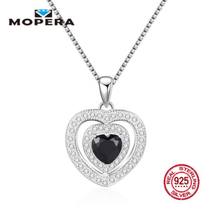 New Sterling 925 Silver Fashion Jewelry Double Crystal Love Heart Natural Black Sapphire Pendant Necklaces For Women