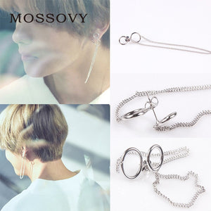 Fashion Women Men Silver Metal Earring Minimalist Jewelry BTS V Bangtan Boys V Stud Doulbe Circles Chain Earrings
