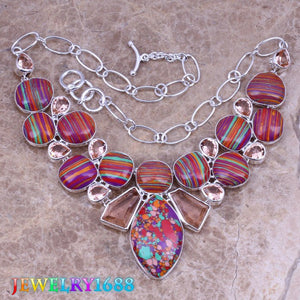 Multicolor Natural Stone Champagne Morganite 925 Sterling Silver Grade Necklace L619