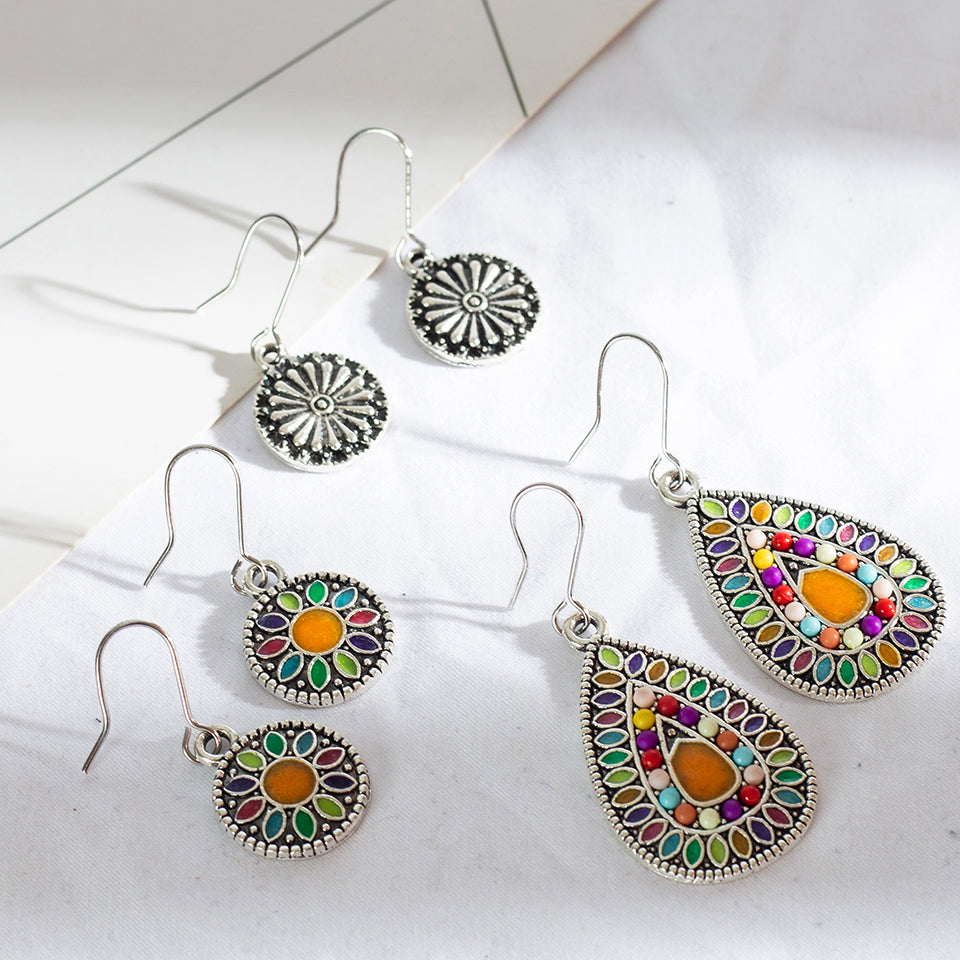 Multiple 3Pairs/Set Vintage Bohemian Boho Ethnic Dangle Drop Earrings for Women Antique Hanging Earrings Jewelry Accessories