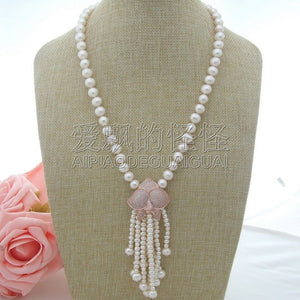 N042404 22''10mm white Pearl CZ Necklace