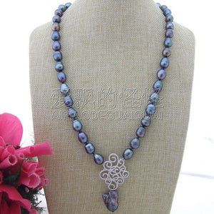 N111509 26'' Black Rice Pearl Keshi Pearl Necklace CZ Pendants