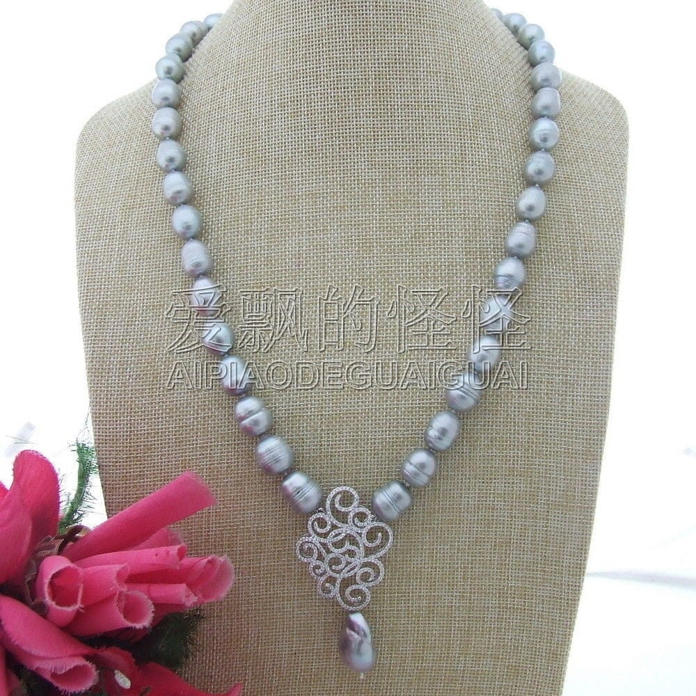 N111511 24''Grey Rice Pearl Keshi Pearl Necklace CZ Pendants