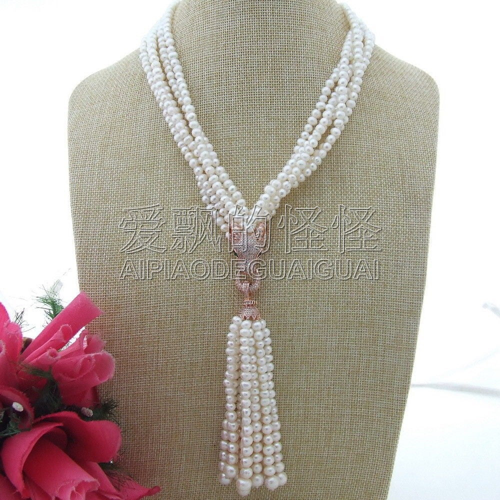 N111804 19 5 Strands White Round Pearl Necklace CZ Pendant
