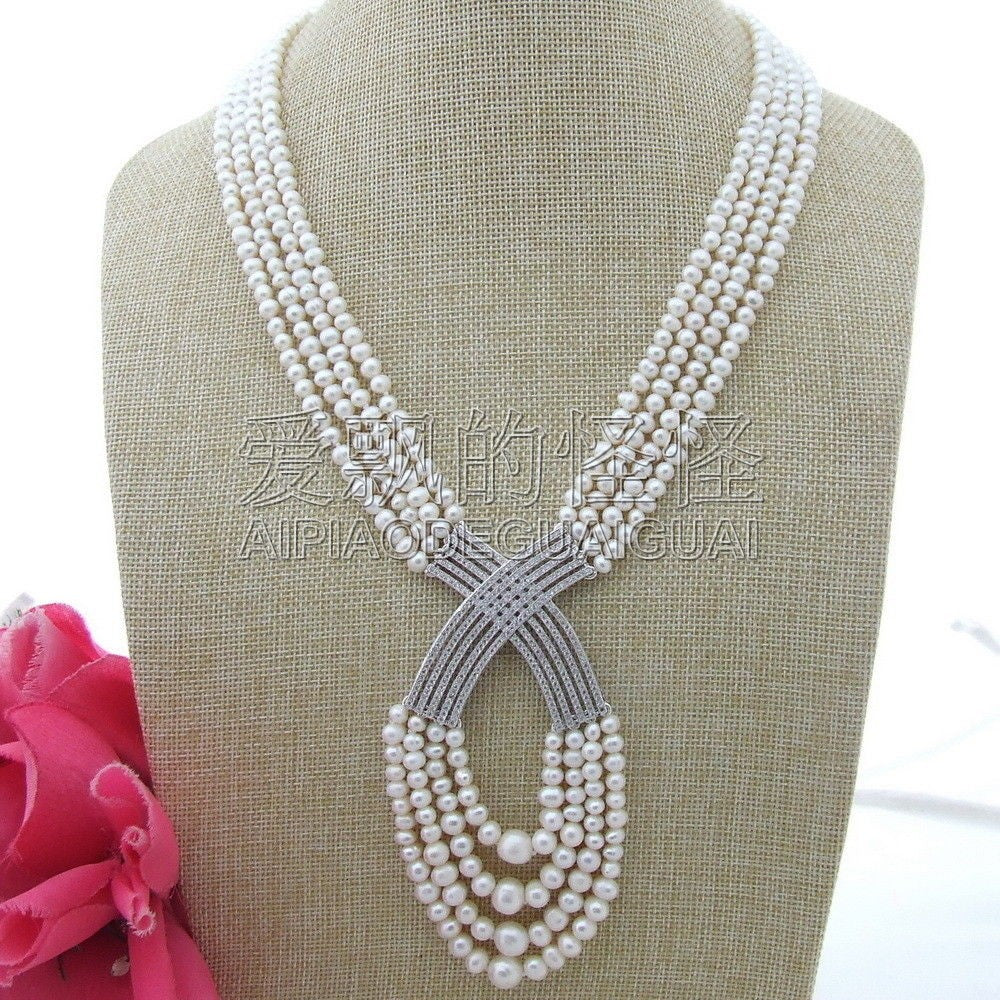 N120102 20-224 Strands White Round Pearl Necklace CZ Pendant