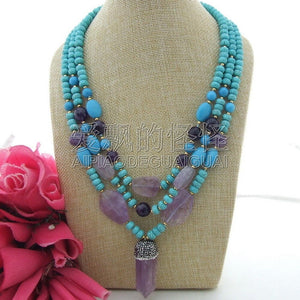 N120409 20 3 Strands Blue Stone & Purple Crystal Pendant Necklace